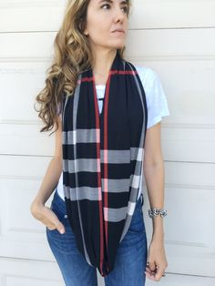 Black Beige Red Plaid Line Infinity Circle by LuckyFitBoutique