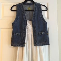 Jean vest Jean vest. Fits size small best. Great over a floral or white dress for the summer. Gives an outfit a little more edge. Only worn a couple times. Great shape :) Pulp Jackets & Coats Vests