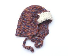 Soft Crochet Aviator Hat with Earflaps Trapper Hat Child Beanie Autumn Winter Fashion Kid Hat Xmas Gift Melange Brown Nave White For Boy Beautiful hat for ca 3–5-years old boy (please check circumference, below). Very soft and nice. Circumference inside (without stretching) is 21 (52 cm)  Handmade with love in a smoke-free house.  Ready to ship.   Please check dimensions carefully. Due to lighting conditions and monitor settings, colors may appear slightly different, than they are. Items are…