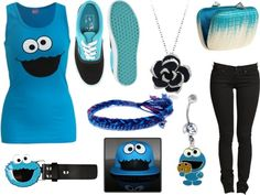 """""""Cookie Monster Outfit"""" by xximamonsterxx on Polyvore"""