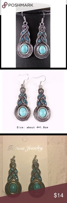 Boho earrings Tibet turquoise dangle 🆕 elegant This is a beautiful, elegant pair of boho, Tibet, turquoise, dangle earrings.  These earrings are brand new.  Would also make an excellent gift 🎁.  Check out my other matching accessories.  Buy with confidence I am a top rated seller, mentor and fast shipper.  Don't forget to bundle and save.  Thank you. Jewelry Earrings