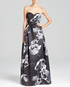 Aidan Mattox Gown - Sweetheart Neck Floral Print | Bloomingdale's  $346