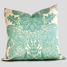 pillows decorative | Pillows - Schumacher Turquoise Lace Floral Decorative Pillow by ...
