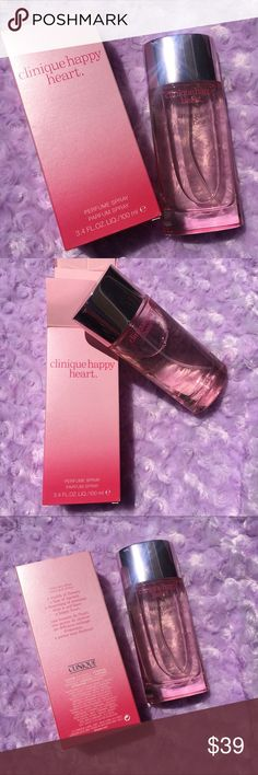 Clinique Happy Heart perfume Clinique happy hear perfume with box. Purchased new, full price. Used once. Loved the smell when I tested it, but didn't think it fit me when I wore it. Hopefully, it can go to someone who will love it! Clinique Makeup
