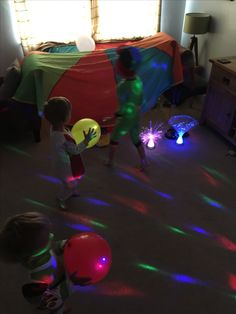 The first morning of the half term holidays looked like this, a disco at 8am complete with a parachute den, glow sticks and glow in the dark balloons oh and fancy dress costumes, why not.