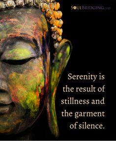 """""""Serenity is the result of stillness and the garment of silence."""""""