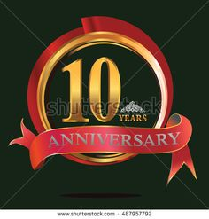 10 years golden anniversary logo with big red and gold ring. anniversary logo for birthday, celebration, wedding and party