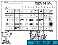 FREE number maze 1-20 - follow a path of ten frames, tallies, dice, dominoes and fingers