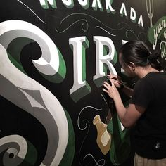 Large scale lettering has such a unique charm. Mural by -- use to be featured -- Hand Drawn Lettering, Types Of Lettering, Brush Lettering, Lettering Design, Painted Letters, Hand Painted Signs, Monogram Letters, 3d Letters, Sign Writing