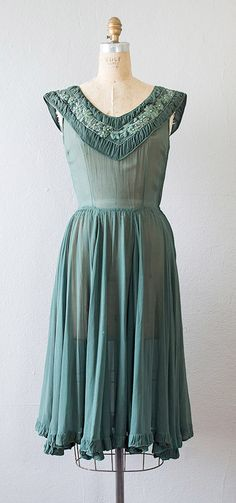 1940s hunter green sheer beaded party dress | Adored Vintage
