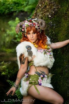 Entire Maenad Horned Faerie Costume Ensemble from idolatre on Etsy. Saved to Epic Wishlist. Faerie Costume, Phoenix Hair, Fantasy Costumes, Kona Cotton, Models, Fantasy Girl, Clothing Co, Faux Flowers, Rock