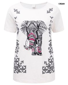 0b9946daad45d7 Elephant Print T-shirt  Womens  Ladies  Fashion  cotton  British