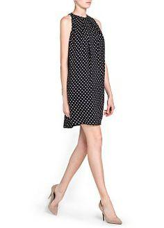 MANGO - wyprzedaz - Sukienka z lejącej tkaniny w kropki