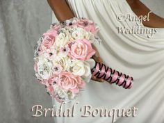 Beautiful CHERRY BLOSSOM Complete Bridal Bouquet by Angelweddings