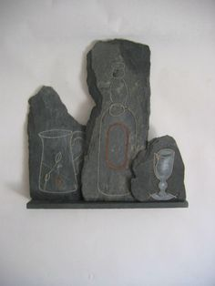 Clyde Olliver - Still Life II - Stitched Slate Sculpture