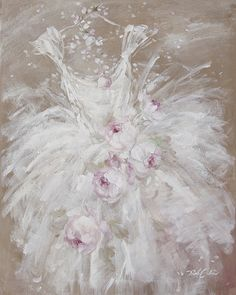 Shabby Chic Tutu Canvas Print - Debi Coules Romantic Art
