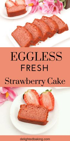 Eggless Strawberry Cake : An eggless strawberry cake with fresh strawberries. Th… Eggless Strawberry Cake : An eggless strawberry cake with fresh strawberries. This cake is moist, soft and has an amazing taste of real strawberries! Eggless Desserts, Eggless Recipes, Eggless Baking, Baking Recipes, Dessert Recipes, Recipe For Eggless Cake, Eggless Birthday Cake Recipe, Recipes Dinner, Fresh Strawberry Cake