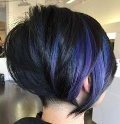 60 Gorgeous Long Pixie Hairstyles Black Bob With Purple Balayage Purple Balayage, Purple Highlights, Balayage Bob, Pixie Cut With Highlights, Purple Streaks, Short Balayage, Peekaboo Highlights, Balayage Color, Hair Highlights