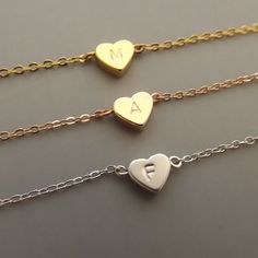 Silver heart and initial bracelet bridesmaid gift wedding