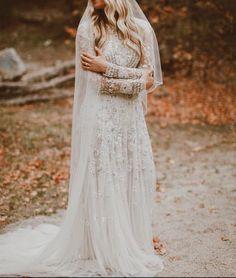 MALMROSE BRIDE, Beaded, vintage wedding dress, long sleeves, high neck, lds bride, temple wedding, blue wedding dress, grey wedding dress, utah bride, utah wedding, cathedral veil, beaded veil, fall, bridals