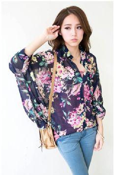 Blue Floral Loose Fit Chiffon Shirt