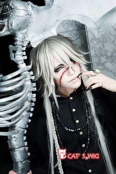 Black Butler Undertaker cosplay Silvery white wig anime Kuroshitsuji wigs 130CM for just US $42.99