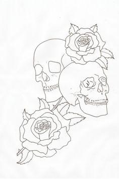 skull rose outline   Skulls and Roses Outline by lou987