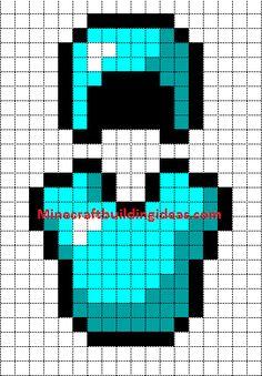 Minecraft Pixel Art Templates: Diamond Armour Helmet and chest