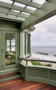 green painted siding & trim