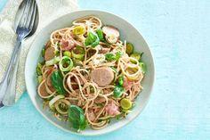 Spaghetti en worst in romige preisaus - Recept - Allerhande