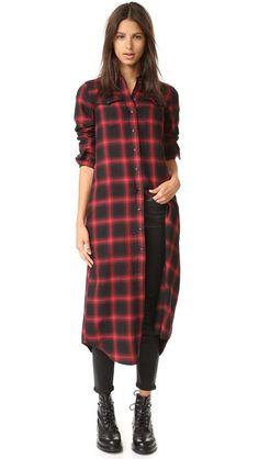 R13 Длинное платье-рубашка в ковбойском стиле