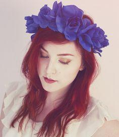 Americana Blue Rose Flower Crown, Rose Headband, Lana Del Rey Headband, Summer Hair Accessory on Etsy, 18,67€