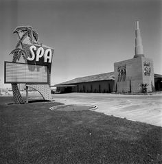 Empty marquee at the Desert Spa, 1955. Desert Spa was open 1947-1959 on the corner of the Las Vegas Strip and Desert Inn Road