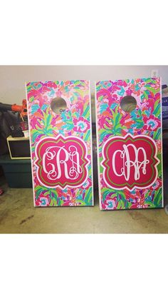 lilly monogrammed cornhole boards