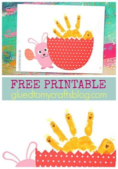 Hatching Handprint Baby Chick Keepsake Idea - Free Printable Template, perfect for spring!