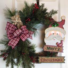 Santa Wreath, Christmas Door Decoration, Artificial Christmas Wreaths, Christmas Wreaths for Sale, Xmas Door Wreaths, Front Door Wreath by GertiesWreaths on Etsy