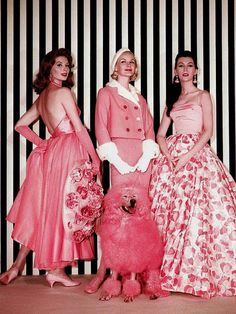 ~Suzy, Sunny and Dovima - plus a matching canine companion - in shades of bright, girly, beautiful pink~