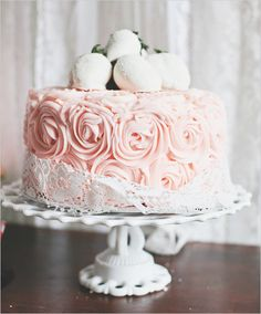Fabulous pink rosette cake with strawberries-- perfect for a dessert table!