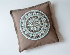 Pillow with Mandala Pillowcase with Crocheted by LillaBjornCrochet, $32.00