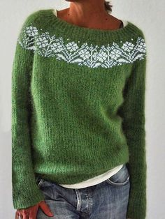 Retro Sweatshirts, Casual Sweaters, Vintage Sweaters, Traje Casual, Pull Bleu, Pullover Mode, Plus Size Casual, Sweater Shop, Green Sweater