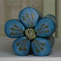 Polymer Clay Flower Cane Blue