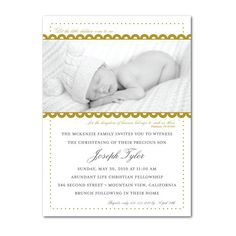 Magnolia Press Baptism Christening Invitations Collection. http://www.invitationsforanyoccasion.com/index.php/baptism-christening-invitations-gold-verse-photo-baptism-invitations/