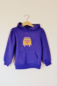 Campervan adventures girls purple hooded top. age 4. $22.50, via Etsy.
