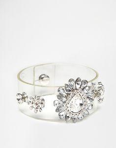 Love Rocks Rhinestone Clear Cuff Bracelet