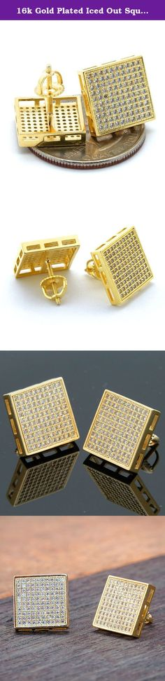 16k Gold Plated Iced Out Square Micro Pave Screw Back 10 Line Earrings. Iced out hip hop Gold Plated Earrings SCREW BACK.