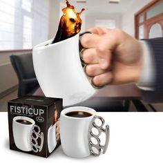 Brass Knuckle Curved Ceramic Mug in Gift Box | Novelty Coffee Mugs | RetroPlanet.com