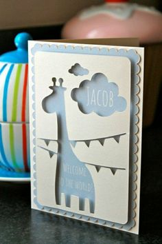 Baby Cards Personalized Greeting Card with Sweet by CandyflossClouds Baby Boy Cards, New Baby Cards, Baby Shower Cards, Diy Cards Baby, Karten Diy, Make Your Own Card, Cricut Cards, Greeting Cards Handmade, Personalised Cards