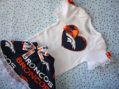 NFL Denver Broncos Tailgating Outfit Baby Girl Matching Booties. if I have a girl, she's going to be wearing this!