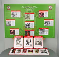 Southampton FC wedding table plan complete with coordinating stationery. Images of your favourite players on the plan and table name cards along with a caption for each player.