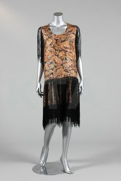 A printed and gold lame flapper dress with fringes, circa 1925